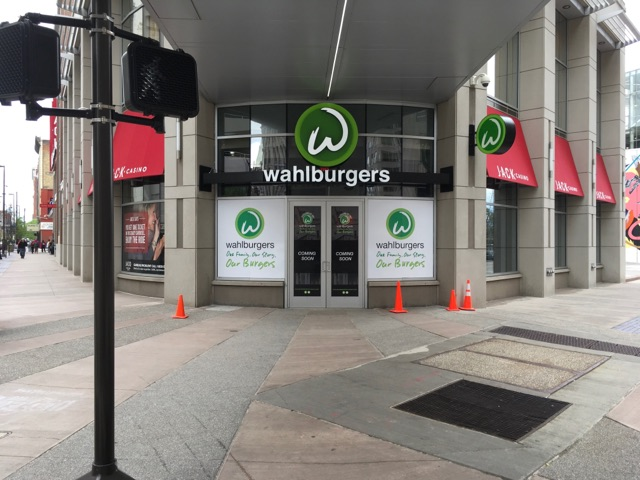 Brand New Wahlburger location - Custom Red Awnings