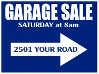 Garage Sale Yard Sign Blue w/White Arrow Template