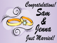 Wedding Yard Sign Sam & Jenna Just Married Template